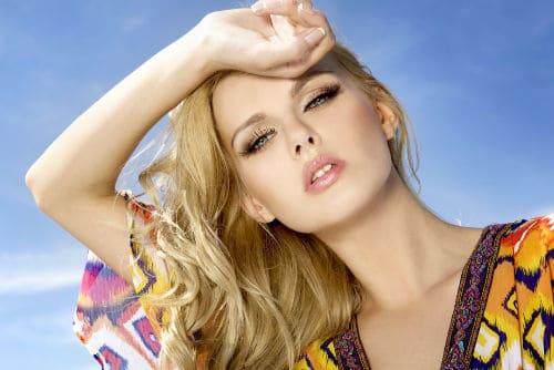 Beautiful Blonde wrist to forehead